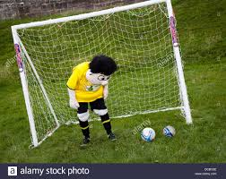 brewer burton albion mascot in goal at a charity event