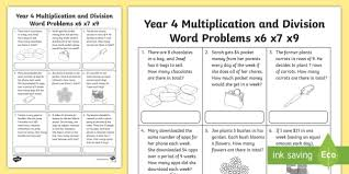year 4 multiplication and division word problems x6 x7 x9