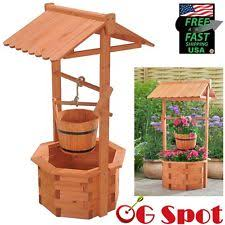 wooden wishing well yard garden outdoor living ebay