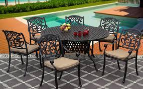 Solid Cast Aluminum Patio Furniture by Flamingo Cast Aluminum Outdoor Patio 7pc Set 60 Inch Round Dining