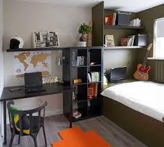orange rug and wooden wall shelving unit for modern bedroom ideas