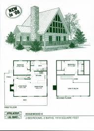 cottage plan small floor with loft top log home plans cabin kits