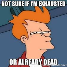 Exhausted Meme - not sure if i m exhausted or already dead not sure if troll