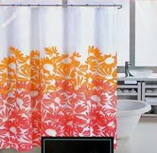 Pink And Orange Shower Curtain Waterproof Polyester Yellow Shower Curtain Fall Wooden Bridge Lake
