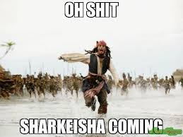 Sharkeisha Meme - oh shit sharkeisha coming meme jack sparrow being chased 5527