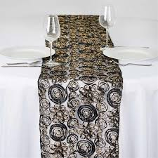 couture tulle satin table runner black gold efavormart
