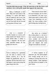 ideas of main idea and supporting details worksheets with