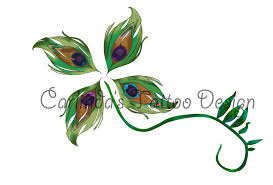 peacock feather four leaf clover tattoo design by ayearie on