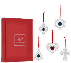 lenox set of 5 silver plated ornaments with gift boxes