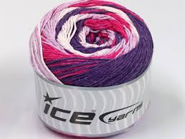 cakes natural cotton white purple lilac fuchsia at ice yarns