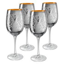 artland inc silver brocade wine glasses set of 4 walmart com