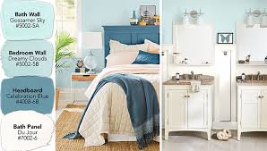 blue paint swatches color ideas for a coordinated bedroom and bathroom
