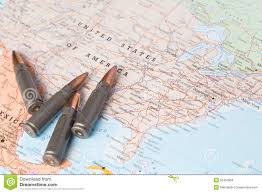 The Map Of United States Of America by Bullets On The Map Of United States Of America Stock Photo Image