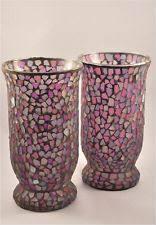 Decorative Glass Vases Handcraft Purple Decorative Cheap Mirror Flower Mosaic Glass Vases