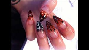 stiletto gel nails halloween tutorial youtube