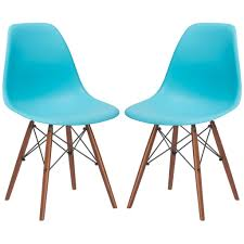 Turquoise Chair Set Of 2 Eames Style Vortex Molded Plastic Dowel Leg Dining Side