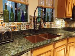 mexican tile backsplash copper sink verde peacock granite
