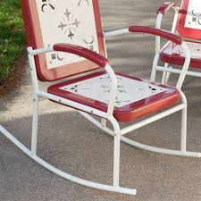 Metal Retro Patio Furniture by Cherry Red Retro Patio 3 Pc Metal Rocker Rocking Chair Set