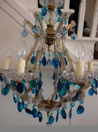 Marie Therese Crystal Chandelier 8 Arm Marie Therese With Blue Vintage Droplets The Vintage