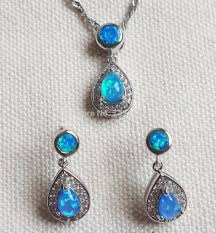 blue opal necklace opal jewelry set 28 images opal pendant with earrings genuine