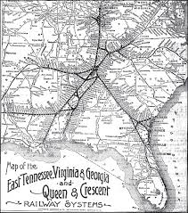 Map Tennessee by East Tennessee Virginia U0026 Georgia Railroad 1891 Map