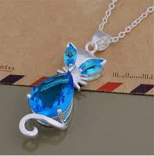 zircon blue necklace images December birthstone aesthetic blue zircon kitty necklace png