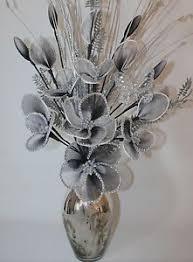 silver flowers artificial flowers black white glitter flower arrangement