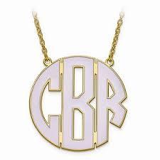 large monogram necklace enameled circle monogram necklace