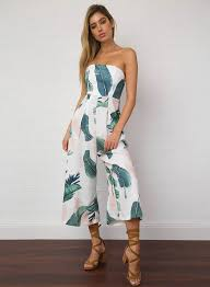 s one jumpsuit s fashion strapless palm leaf printed wide leg jumpsuit