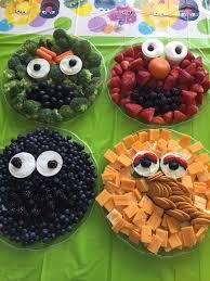 sesame street fruit and veggie trays for a sesame street themed