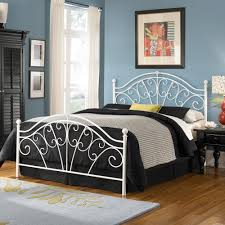 iron bed glossy white finish classic scroll work style