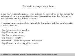 waitress job cover letter sample resume waitress pleasing sample waitress resume australia