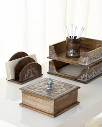 Wood Desk Accessories by Gg Collection Heritage Wood And Metal Stacking Trays Gracious Goods