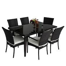 homcom rattan garden furniture aluminum dining set patio