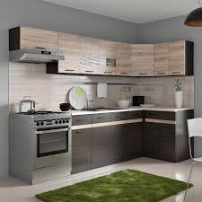 cuisine wengé junona cuisine d angle complète mélaminée l 3m40 avec led décor