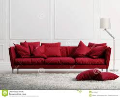 red leather sofa in classic white style interior royalty free