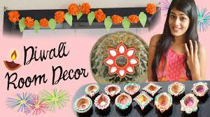 Home Decoration Ideas For Diwali Diy Diwali Room Decor Paper Flowers Floating Kundan U0026 Diyas