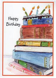 happy birthday book birthday book cake stack of books candles birthday cake