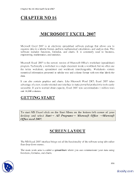 microsoft excel 2007 computer fundamentals lecture notes docsity