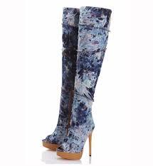womens cowboy boots 2016 ladies peep toe zip platform denim knee