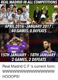 Real Madrid Meme - real madrid inall competitions em gettyim april 2016 january 2017