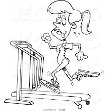 vector of a cartoon sweaty woman running on a treadmill coloring