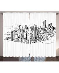 curtain nyc historical sketch print 2 panel window drapes