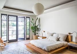 Light Wood Bedroom Platform Bed Frame Look Los Angeles Contemporary Bedroom
