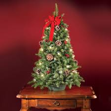 artificial prelit christmas trees the freshly cut prelit tabletop tree hammacher schlemmer