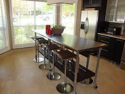 Kitchen Island Vent Hood Versatile Wooden Island With Stainless Steel Countertop Brown