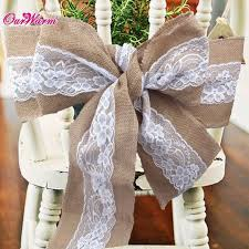Chair Sashes For Weddings Lace Burlap Wedding Chair Sashes Bow Natural Hessian Jute Chair
