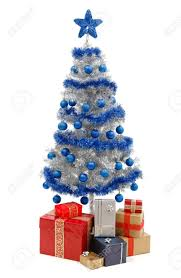 artificial silver christmas tree isolated on white decorated
