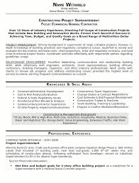 construction resume exles resume sle 23 construction superintendent resume career resumes