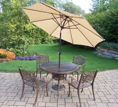 Patio Table Umbrella Insert by Pc Patio Dining Set W Table Chairs Umbrella And Stand Outdoor